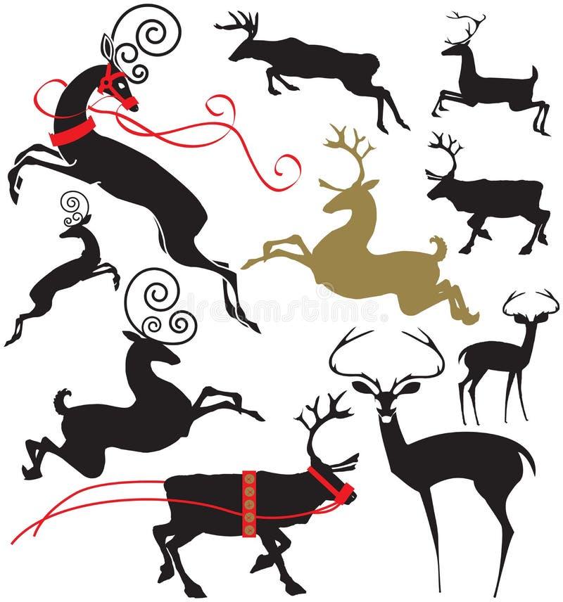 Elegant deer silhouettes stock illustration