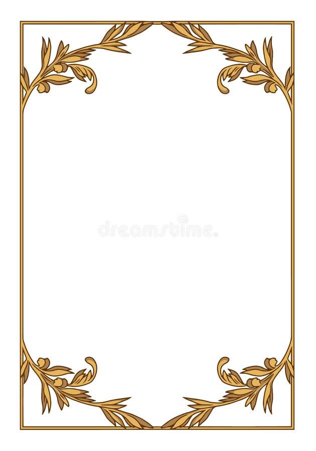 Elegant dekorativ guld- genomskinlig vektorgränsillustration stock illustrationer