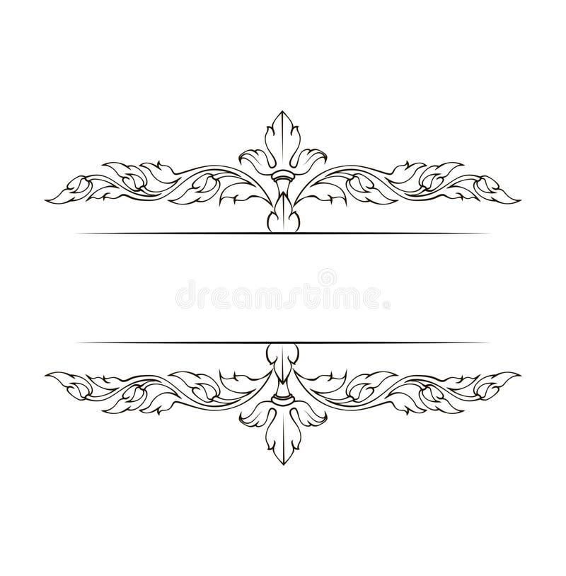 Elegant dekorativ dekorativ sidagarnering för tappning vektor illustrationer