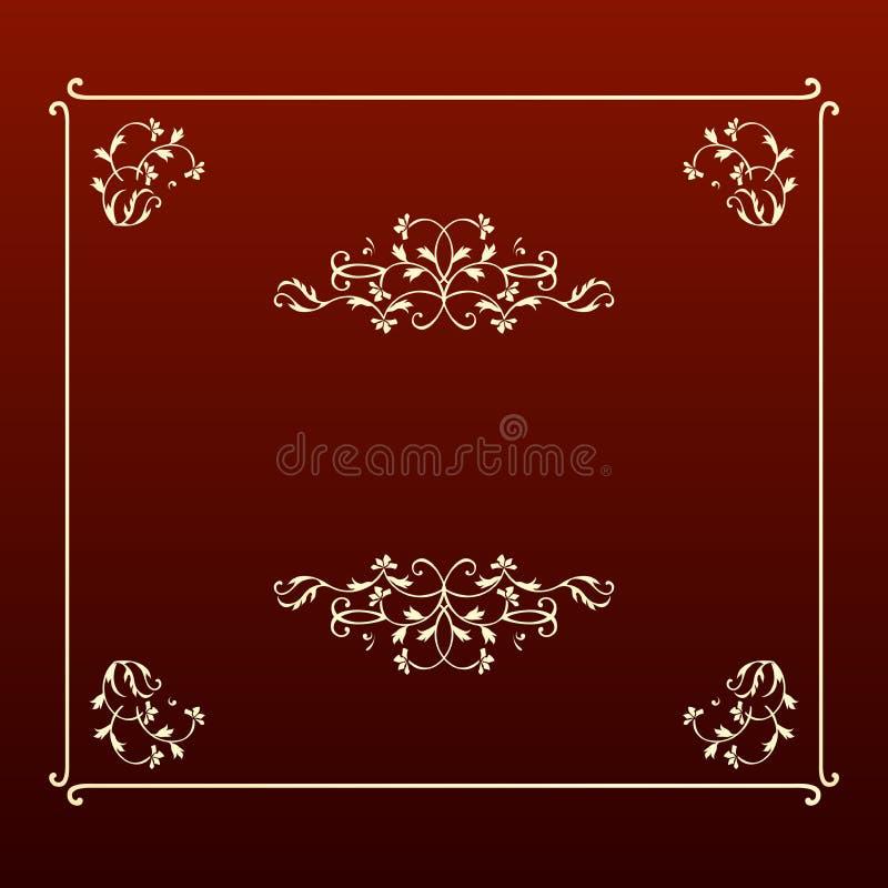 Elegant design ecru square frame royalty free stock image