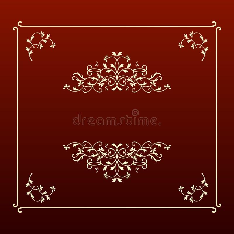 Elegant design ecru square frame stock image