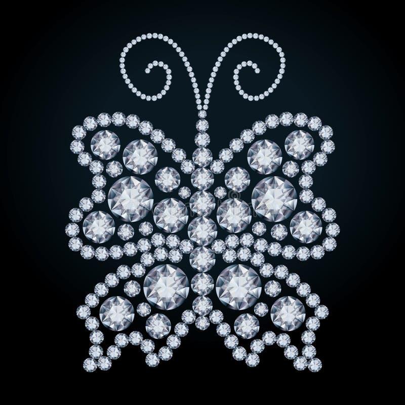 Elegant Diamond butterfly. Vector illustration royalty free illustration