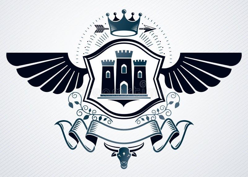 Elegant die embleem met de decoratie van adelaarsvleugels, middeleeuws kasteel wordt gemaakt vector illustratie