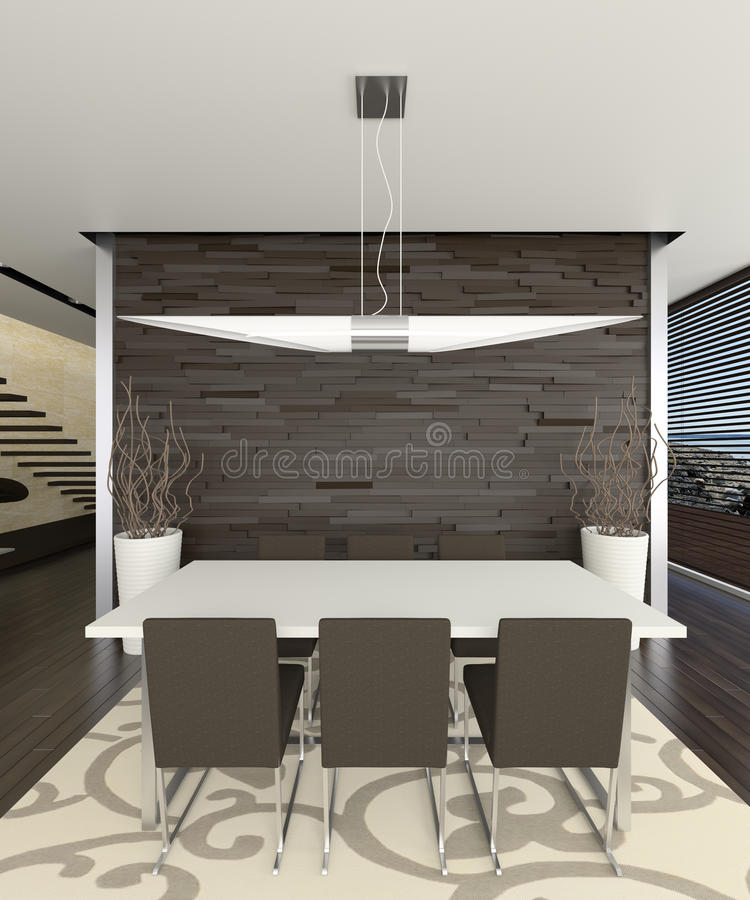 Elegant dining room 3d. Rendered 3d interior of spacious dining room vector illustration