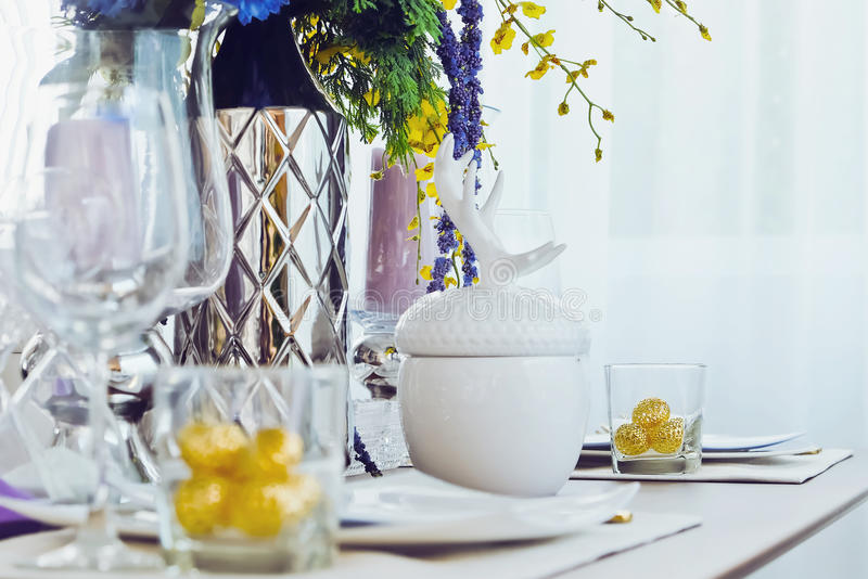 Elegant dining table royalty free stock images
