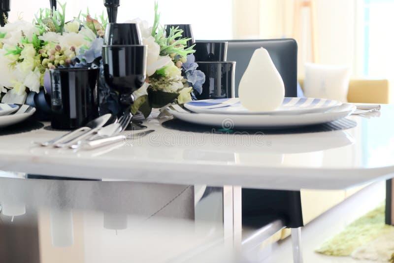 Elegant dining table stock photos