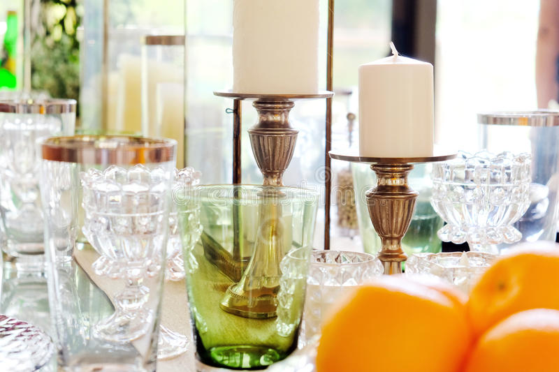 Elegant dining table stock images