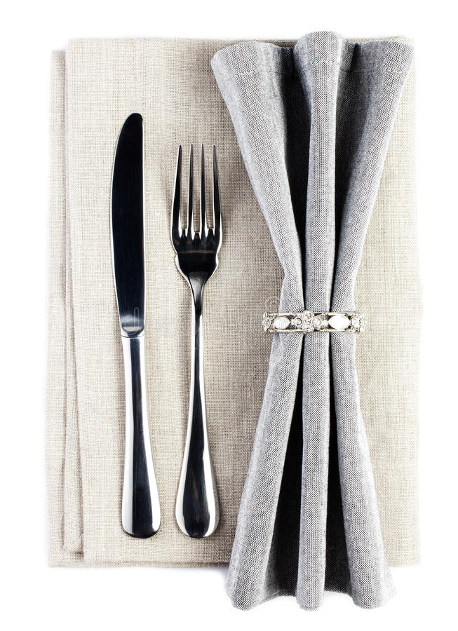 Download Elegant Dinner Table Setting With Fork And Knife On A Grey Tabl Stock Image -  sc 1 st  Dreamstime.com & Elegant Dinner Table Setting With Fork And Knife On A Grey Tabl ...