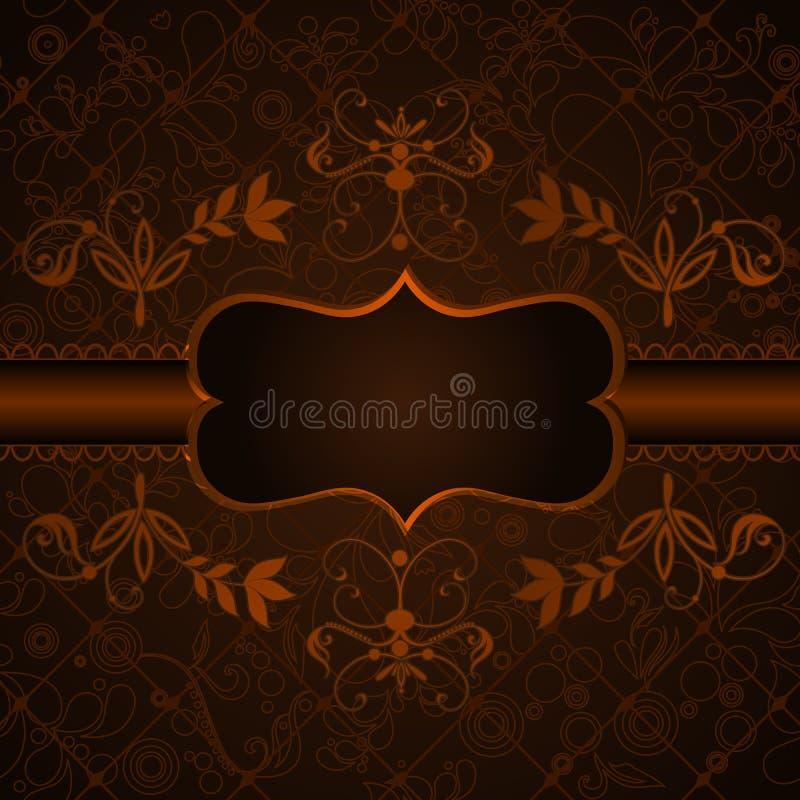 Elegant, donker, uitstekend bloemenetiket stock illustratie
