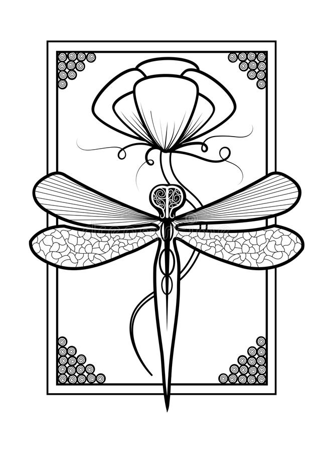 Elegant Dragonfly Adult Coloring Page Design royalty free stock image