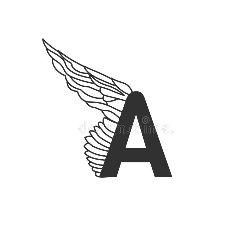 Elegant dynamic letter A with wing. Linear design. Can be used for any transportation service or in sports areas. Vector royalty free illustration
