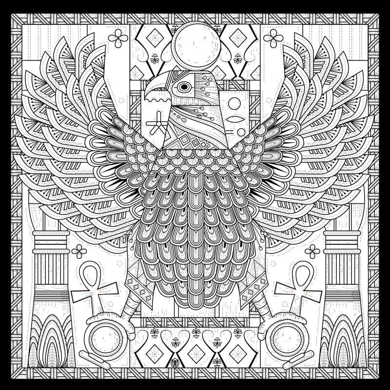 Elegant eagle coloring page stock illustration