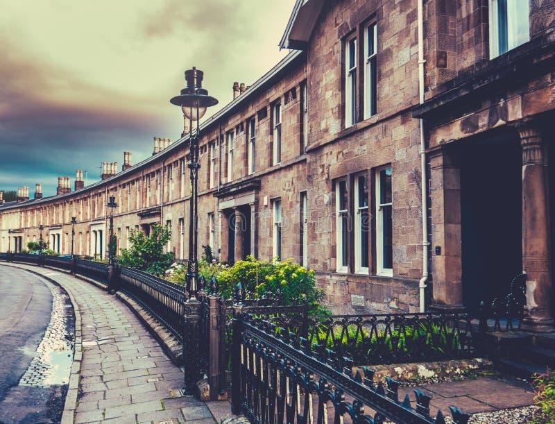 Elegant Edwardian Terrace Houses. Beautiful Curved Edwardian Terrace Houses In A British City Glasgow stock image