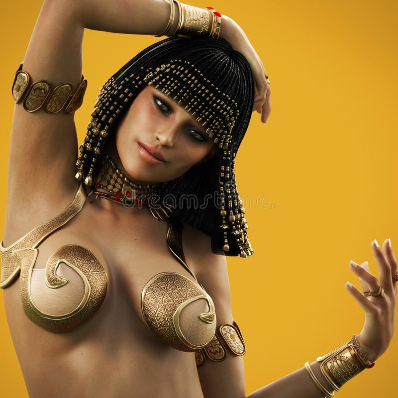 Elegant Egyptian female posing with a color background. vector illustration