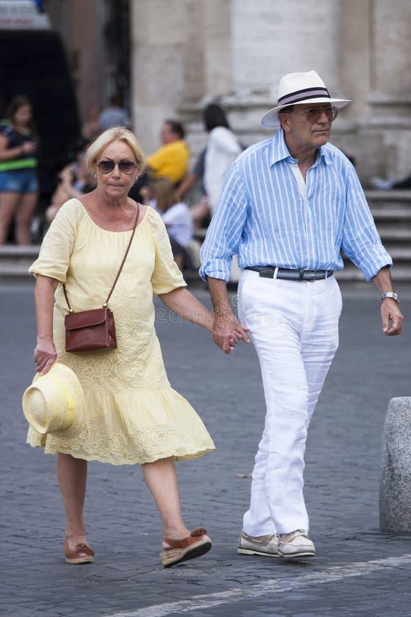 Elegant elderly couple royalty free stock images