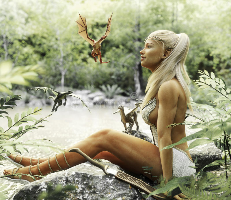 Elegant Elven blonde female relaxing by a mythical forest pond with her baby dragons. Fantasy mythical. 3d rendering vector illustration
