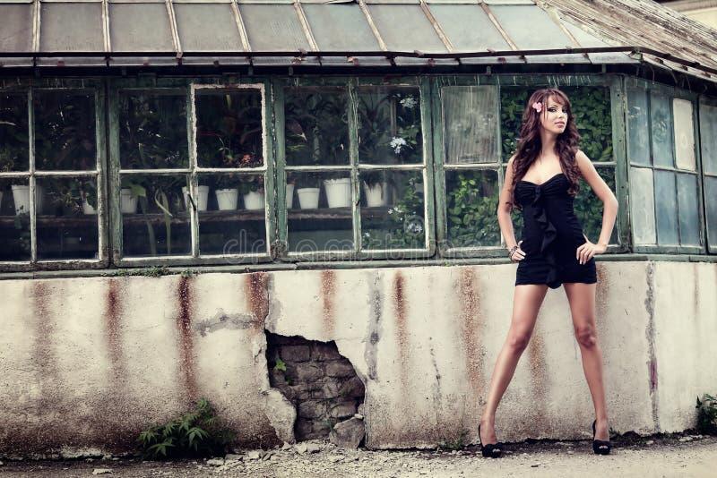 elegant en utomhus- posera sexig kvinna royaltyfri foto