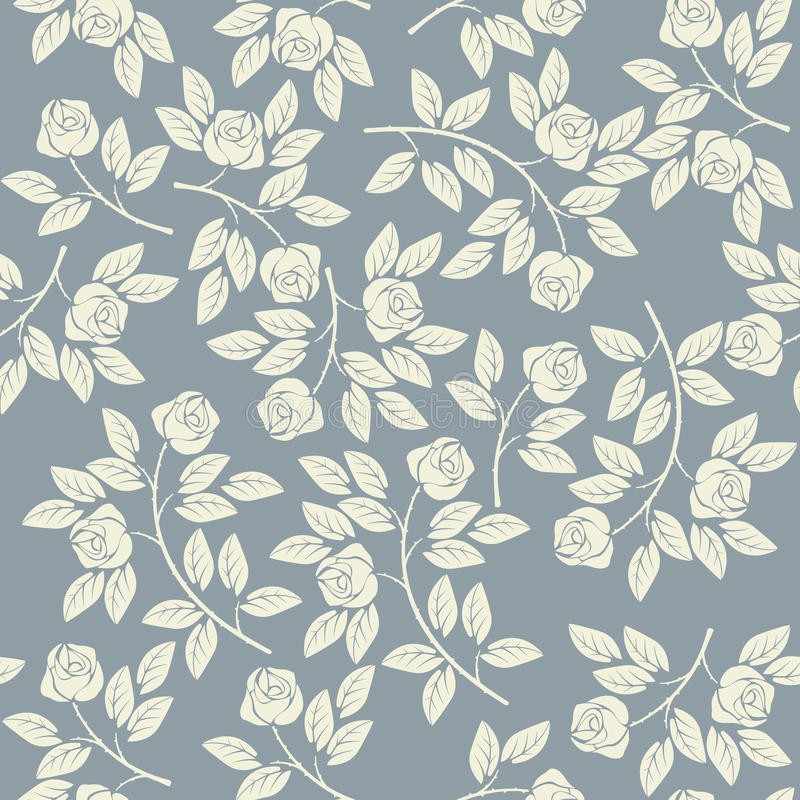 Elegant endless pattern with ivory roses. Can be used for linen, napkin designs, textile, kids clothing, wallpaper and more creative designs royalty free illustration