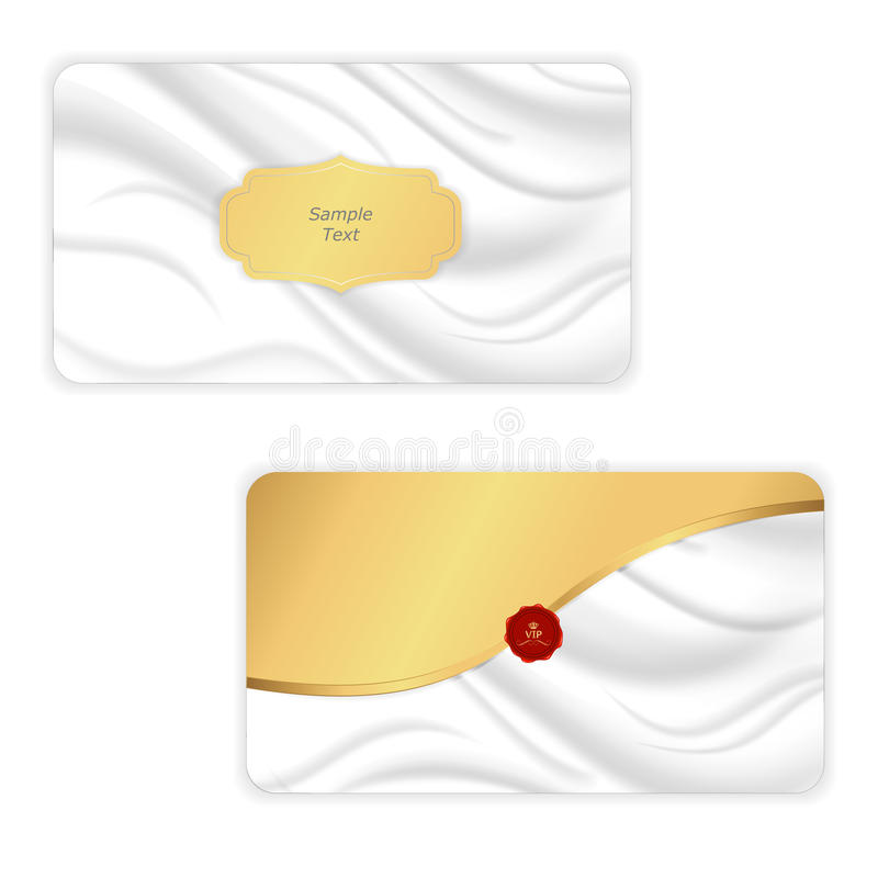 Elegant envelope is in the form of white silk with a gold mesh insert. Vector stock illustration