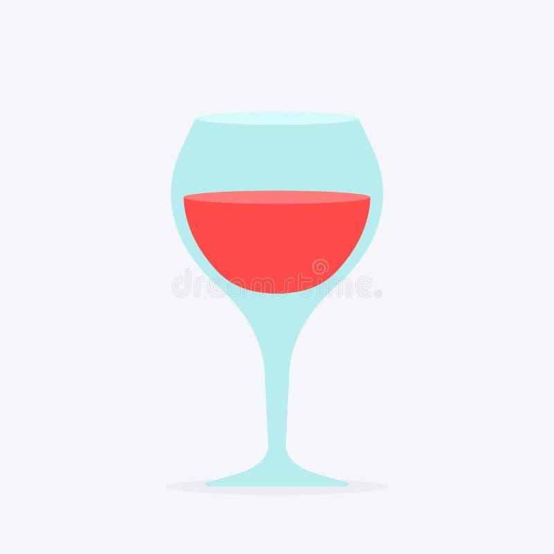 Elegant exponeringsglas med vinrankan Vinglas som fortfarande fylls med rött vinanseende och vippas på med plana symboler för fär royaltyfri illustrationer