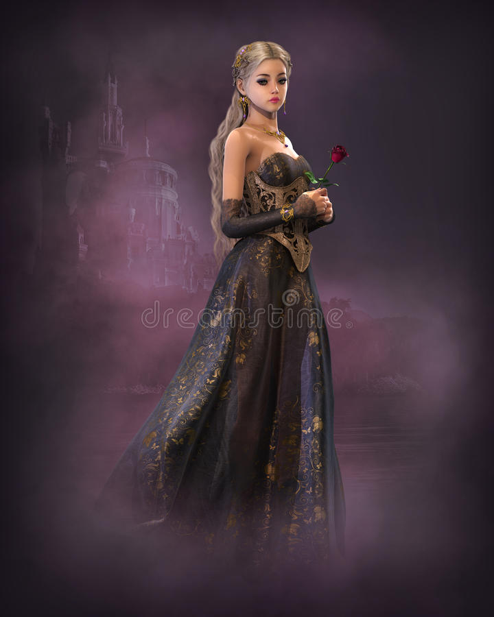 Elegant Fairytale Princess, 3d CG royalty free illustration