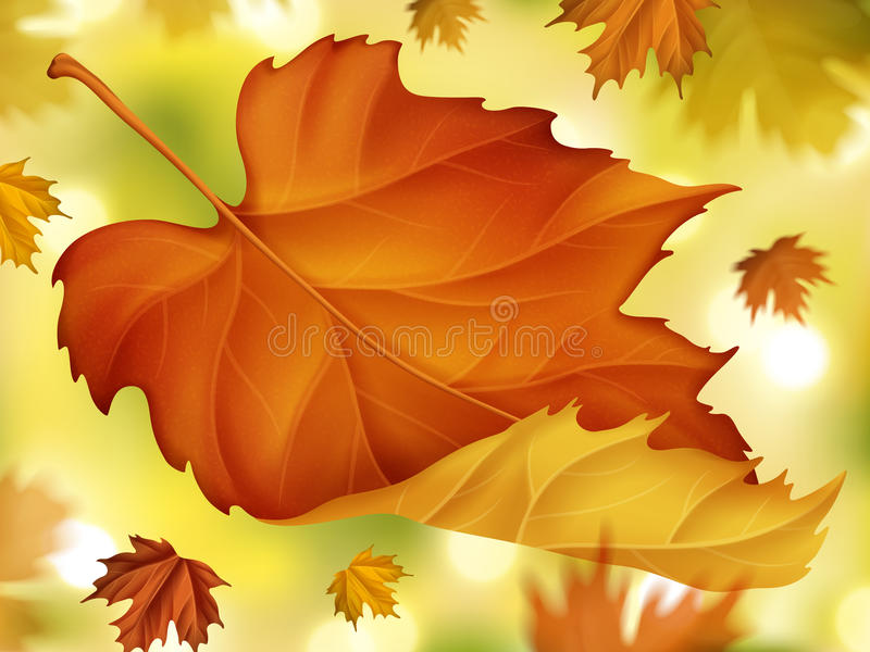 Elegant fall foliage background. Close up autumn maples with bokeh background in 3d illustration royalty free illustration