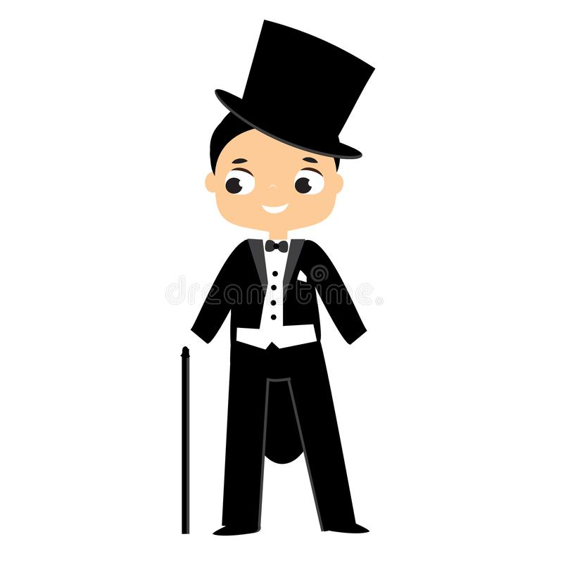 Elegant fashion boy dressed in tailcoat and top hat. male in historical costume stock illustration