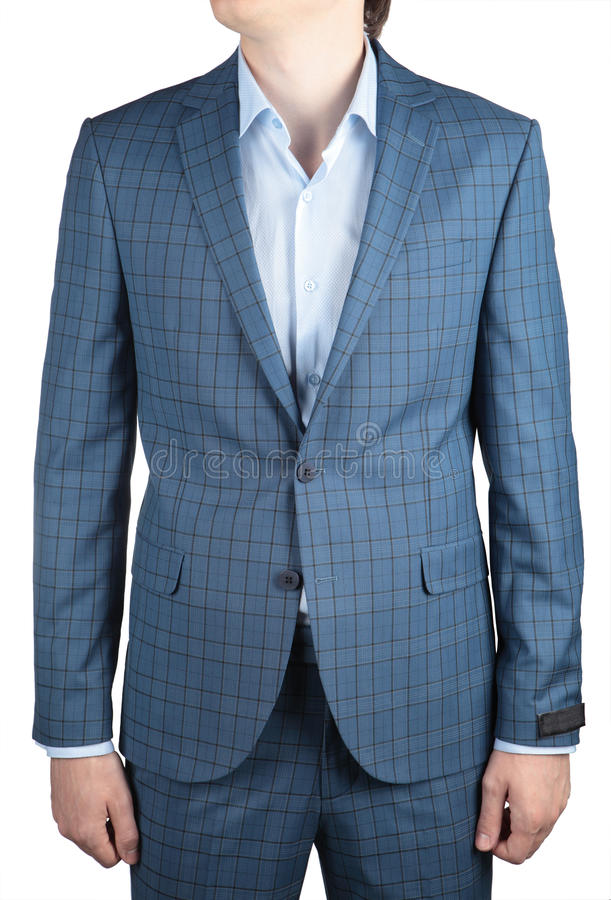 Elegant fashion light blue plaid suit jacket, men wedding clothe. Stylish fashionable light blue plaid blazer men wedding suit isolated on white background royalty free stock photo
