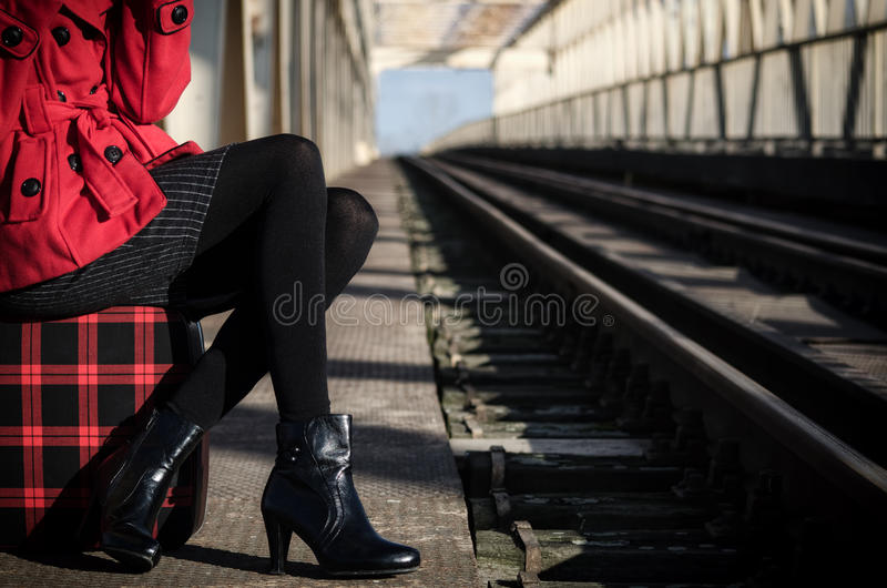 Download Elegant Fashionable Lady Waiting For The Train Stock Photo - Image of fashion, bright: 48200836