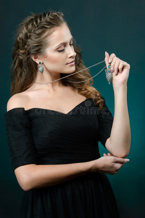 Elegant fashionable woman demonstrated collection luxury accessory and jewelry royalty free stock images