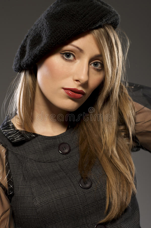 Download Elegant Fashionable Woman In A Hat Stock Image - Image: 18006765