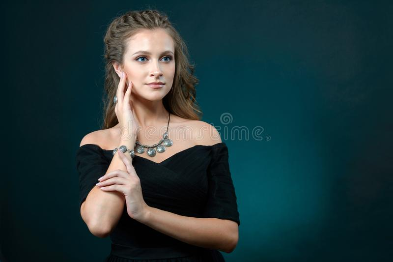 Elegant fashionable woman with jewelry, Portrait of Pretty Girl stock images