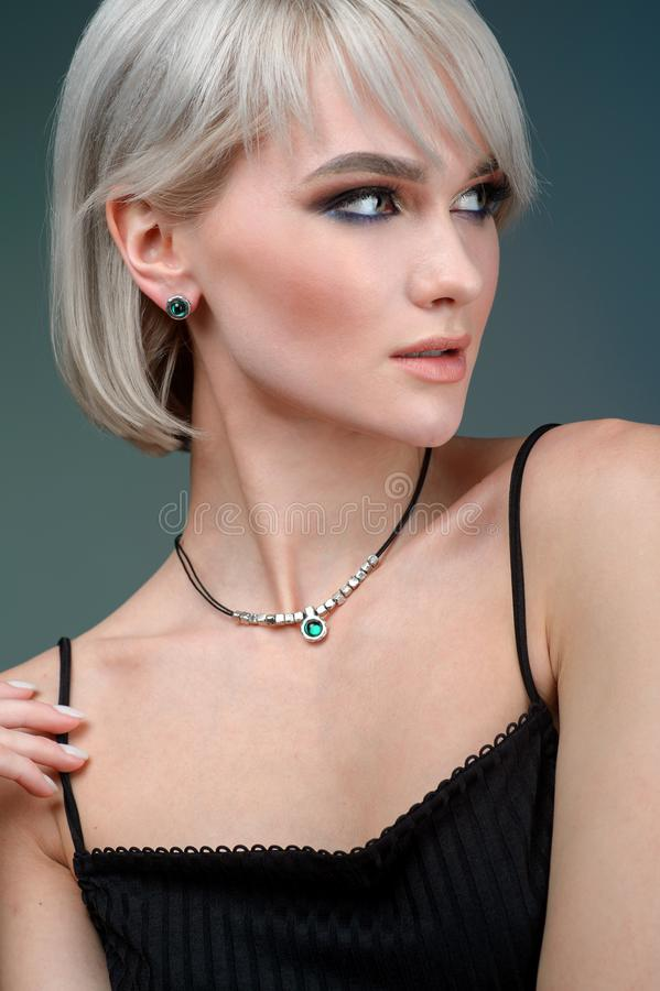 Elegant fashionable woman with jewelry, Portrait of Pretty Girl with Jewelry stock image