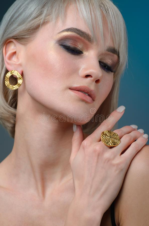 Elegant fashionable woman with jewelry, Portrait of Pretty Girl with Jewelry royalty free stock images