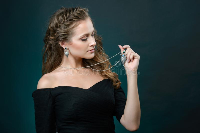 Elegant fashionable woman with jewelry, Portrait of Pretty Girl with Jewelry royalty free stock photography