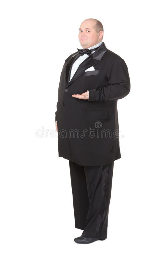 Elegant fat man in a bow tie pointing