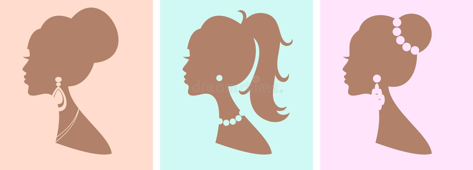 Download Elegant Female Hairstyles stock vector. Image of graphics - 24225263