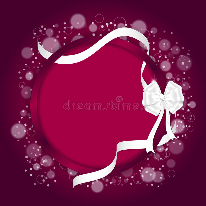 Elegant festive red background with circular curved back and white ribbon with a white bow. vector illustration