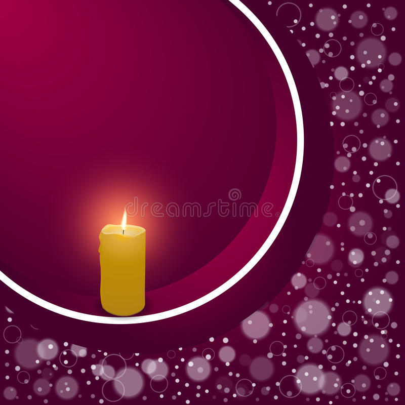 Elegant festive red background with a circular ribbon and a burning candle with space for text. royalty free illustration
