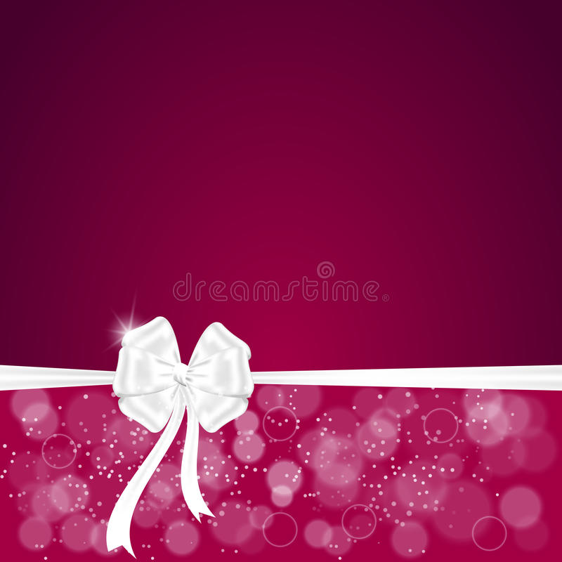 Elegant festive red background with horizontal ribbon and white bow, a place for text. vector illustration