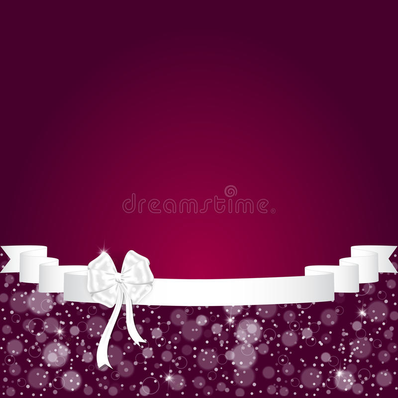 Elegant festive red background with horizontal wide ribbon and white bow, space for text. stock illustration