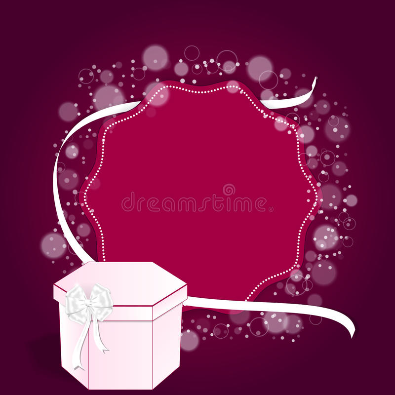 Elegant festive red background with a round back and a white ribbon and a pink box. royalty free illustration