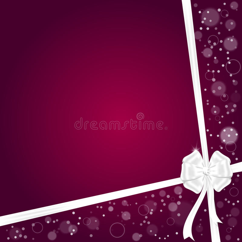 Elegant festive red background with two ribbons and a white bow with space for text. royalty free illustration