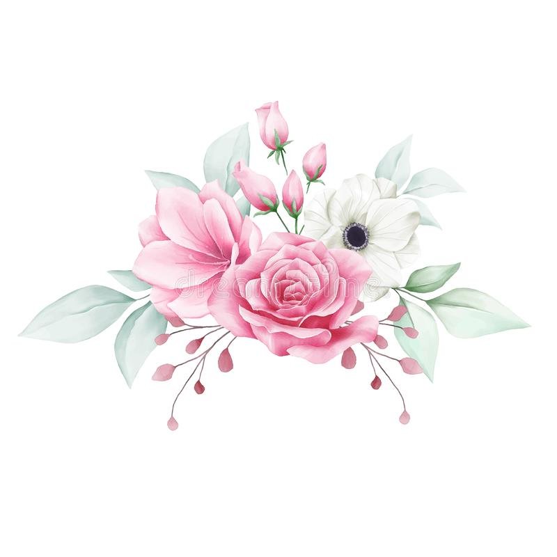 Elegant floral arrangement with various flowers for cards composition elements. Elegant floral arrangement with various flowers. Editable vector for cards royalty free illustration