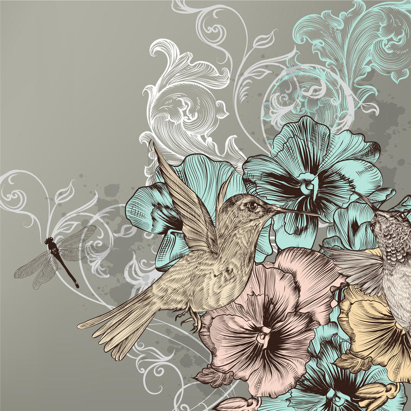Elegant floral background with flowers and humming birds stock illustration