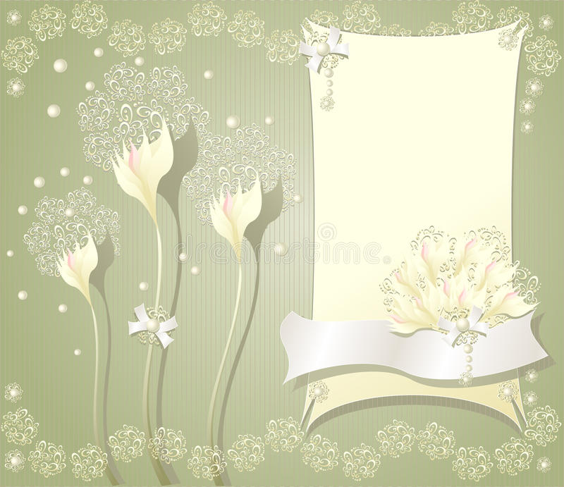 Elegant floral background with frame flowers bows. Elegant light floral background with frame flowers bows ribbon pearls and lace stock illustration