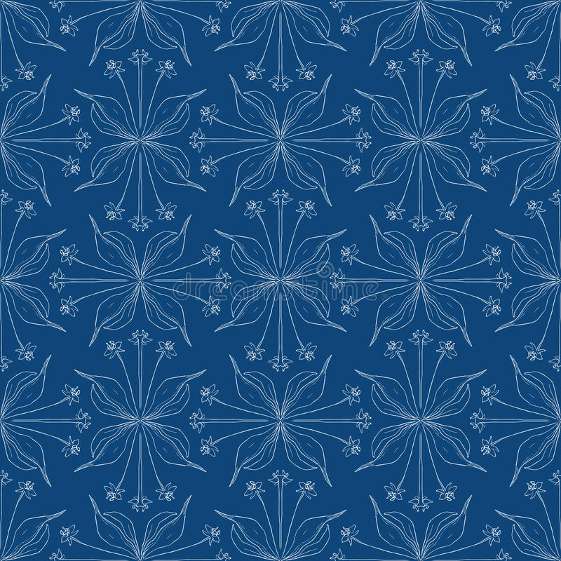 Elegant floral background, seamless vector pattern. Cozy stylish floral background with barely visible lines in blue, seamless vector pattern website or spring stock illustration