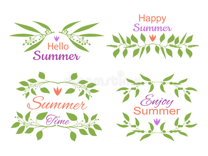 Elegant floral decorative elements set with summer invitations royalty free illustration