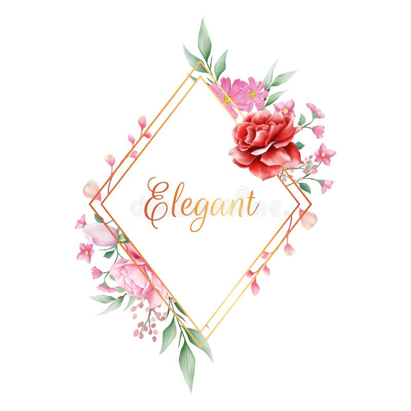 Elegant floral frame with golden border of various flowers. Fully editable vector for wedding or greeting cards composition stock illustration