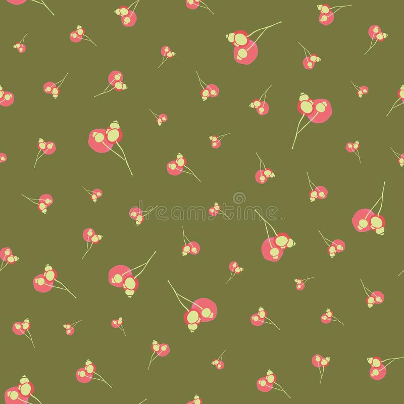 Elegant floral pattern with winter berry. Elegant floral Christmas winter berry pattern with scattered twig, berry, dot in red and pink tones. Simple all over royalty free illustration
